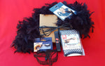 Masquerade | mask, gloves, feather boa, eyelashes