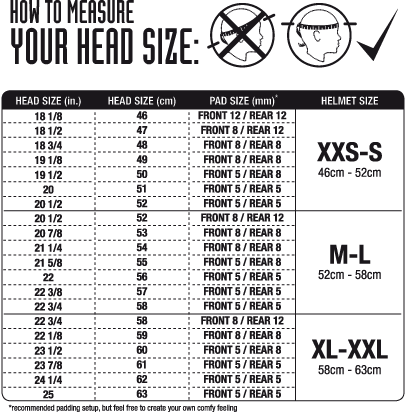 Melon helmet sizing chart kids bike