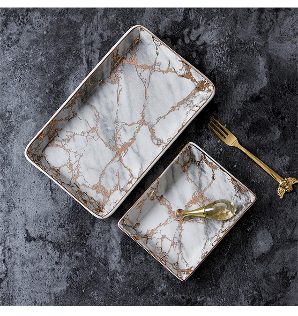 Marble Tray With Gold Accents Warblers