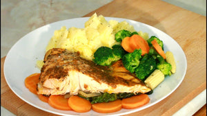 salmon -broccoli- carrots - mash potato Best low sodium seasoning