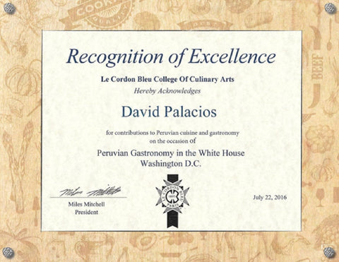 Awarded at the White House Chef David Vargas