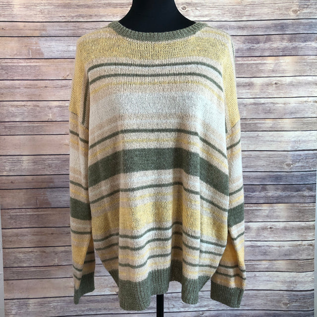 Lightweight Striped Sweater ~ Olive