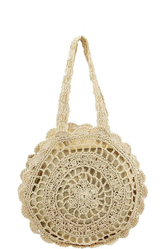 Woven Circle Tote Bag ~ Beige