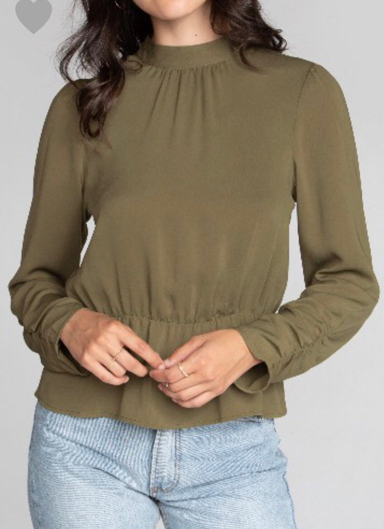 Mock Neck Olive Blouse