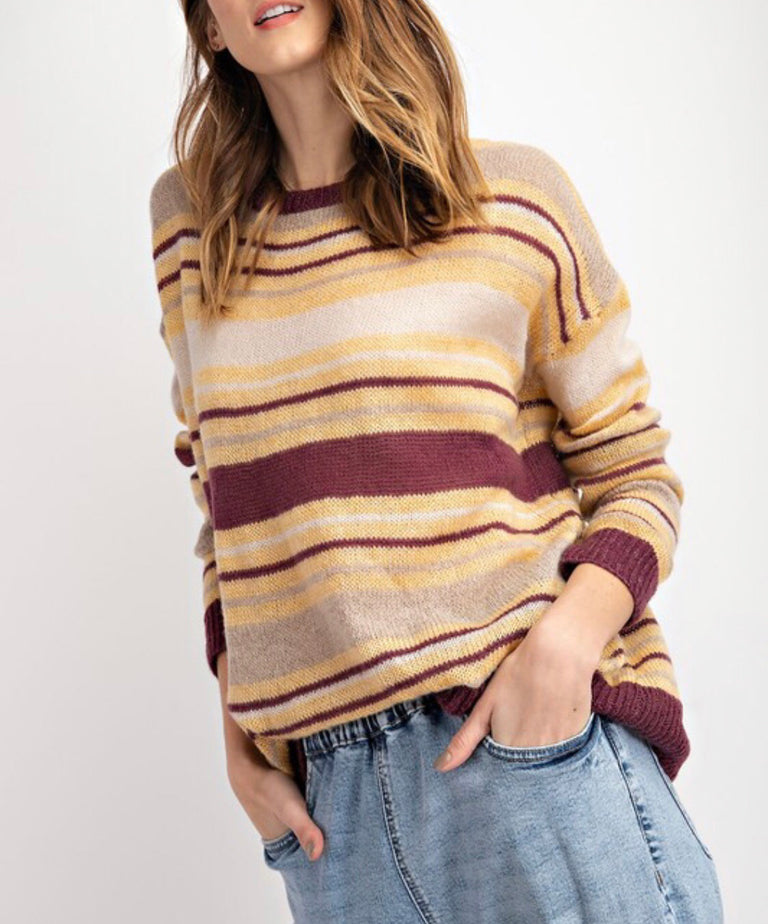 Lightweight Striped Sweater ~ Wine