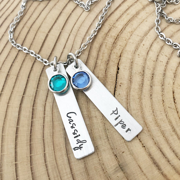 Hand Stamped Name Bar Necklace - Stainless Steel - Fancy Font