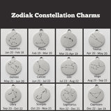 Zodiac Constellation, Initial  and Birthstone Charm Necklace