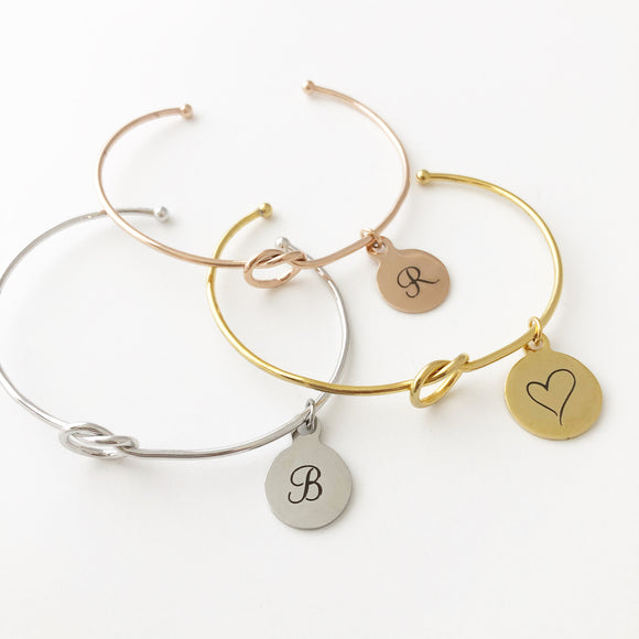 Knot Cuff Bracelet with Charm