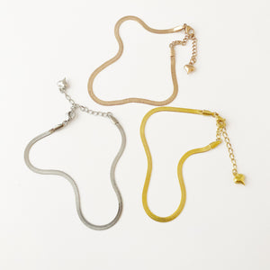 Anklet - Snake / Herringbone Chain - Silver, Gold or Rose Gold