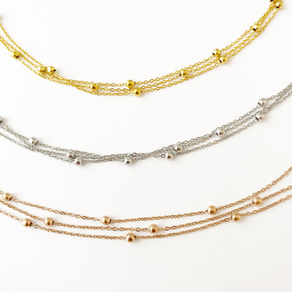 Anklet - Saturn Beaded Chain - Silver, Gold or Rose Gold