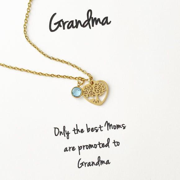Grandma - Family Tree & Birthstone Necklace