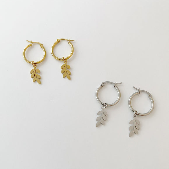 Leaf Charm Hoop Earrings
