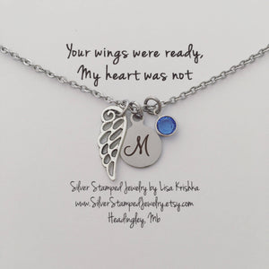 Memorial Angel Wing, Initial, birthstone Personalized charm necklace