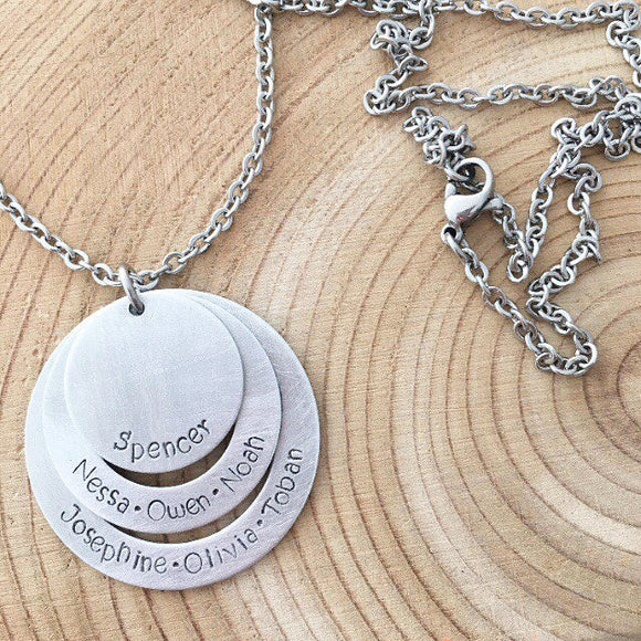 Hand Stamped round disc Necklace Personalized, non tarnish, hypo allergenic
