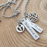 Hand Stamped Jewelry, Custom Personalized Necklace, Grandma, Mom, tree of life, foot prints