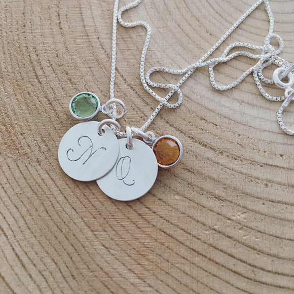 Custom Personalized Sterling Silver 925 Hand Stamped Necklace with Inital & Birthstone