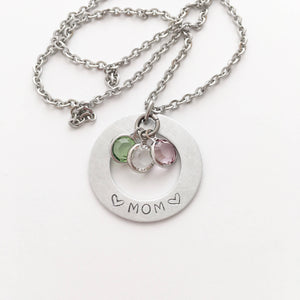 Hand Stamped Jewelry Custom Personalized Necklace, Grandma, Mom, birthstones