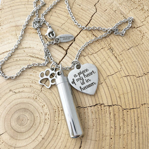 Pet Memorial Necklace Keychain - Pet Loss - Ash Jewelry - Pet Ash - Dog Cat Jewelry- Cremation urn