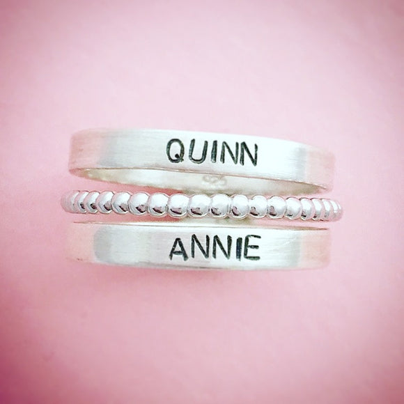Stamped Stacking Family Ring Set , Sterling Silver Hand Stamped Jewelry, Engraved Ring with Kids Names, Mother, Mom, Grandma, Gift, Birthday