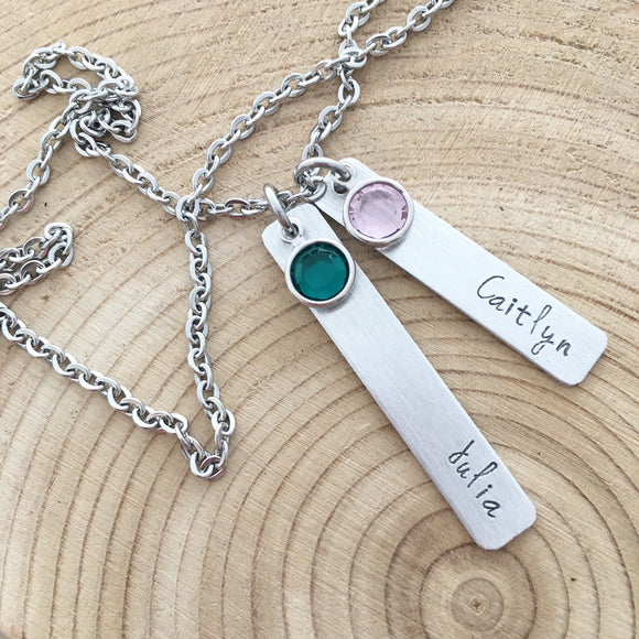 Hand Stamped Name Bar Necklace for Mom or Grandma, Swarovski Birthstones, Family Heirloom Jewelry, Engraved kids names