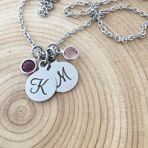 Initial Necklace, Stainless Steel, Swarovski Birthstones, Monogram Initial Charm, Silver