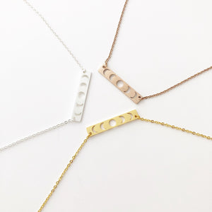 Celestial Lunar Phase bar necklace with extender, Silver - Gold - Rose Gold