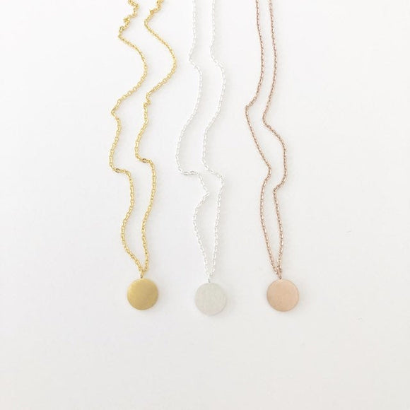 Coin charm Necklace in Gold, Silver, or Rose Gold FREE SHIPPING