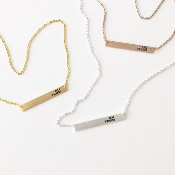 Best Friends bar necklace with extender, Silver - Gold - Rose Gold