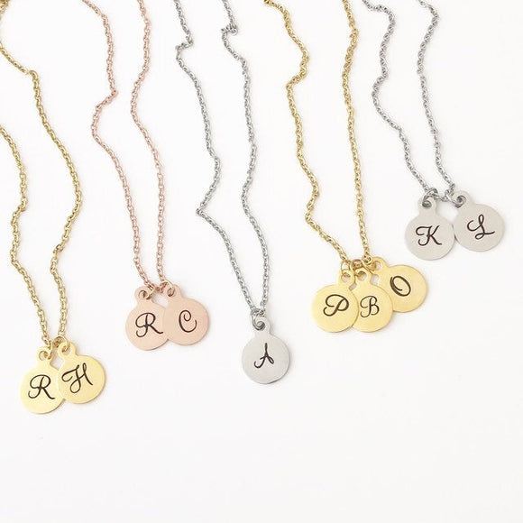 Initial Coin Necklace, Stainless Steel