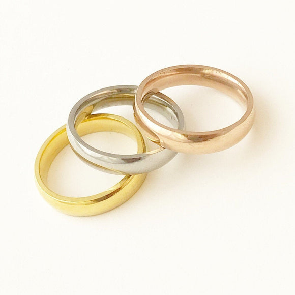 Thick Ring, Silver, Rose Gold, Gold Stainless Steel