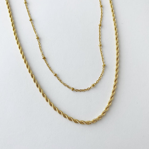 2 piece chain, Twist Rope Chain & Saturn Chan,  Silver, Gold Or Rose Gold