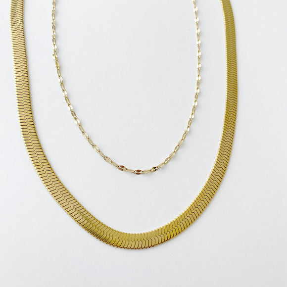 2 piece chain, Snake Chain & CUban Chan,  Silver, Gold Or Rose Gold