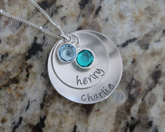 Custom Personalized Sterling Silver 925 Hand Stamped Necklace with 2 charms & 2 Names
