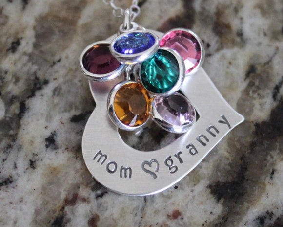 Sterling Silver 925 Hand Stamped Heart Necklace for Mom or Grandma with 2 swarovski birthstones
