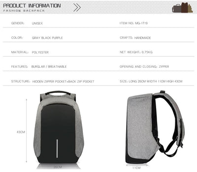 Anti-Theft Water/Tear Resistant Backpack With USB Charging Port
