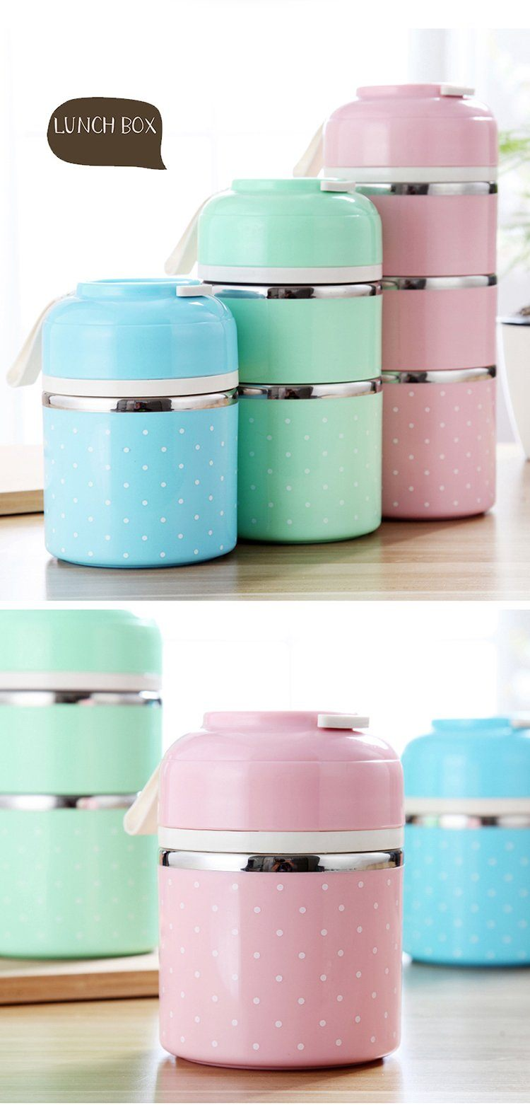 Cute Japanese Style Thermal Lunch Bento Box - Leak Proof Stainless Steel
