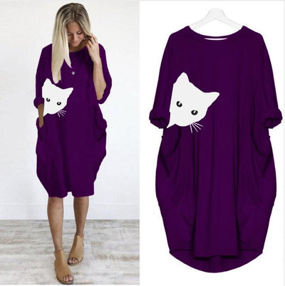 Peeking Cat Day Dress - Chic Designer Dress For Her