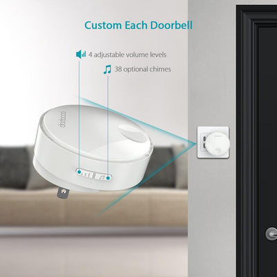 Dodocool Self-Powered Battery-Free Wireless Doorbell Kit With 38 Melodies And A 262ft Range
