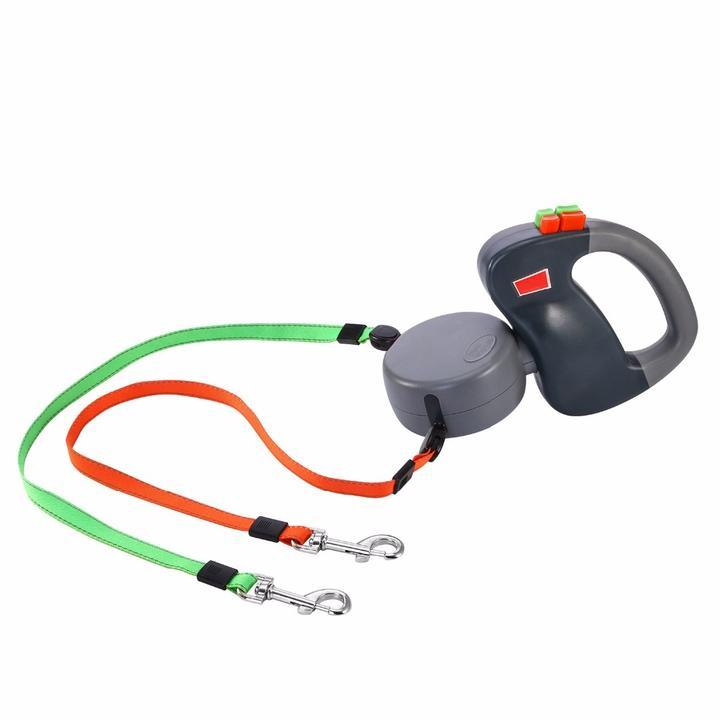 Dual Doggie Retractable Leash With Dual Braking Technology