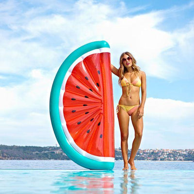 Giant Inflatable Watermelon Slice Pool Floaty Sunbather
