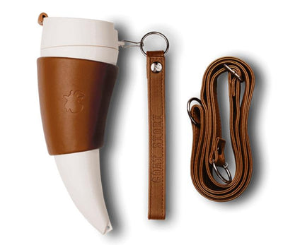 Horn Mug 16 Oz. Insulated Travel Coffee Mug With Leather Holder In White Or Black