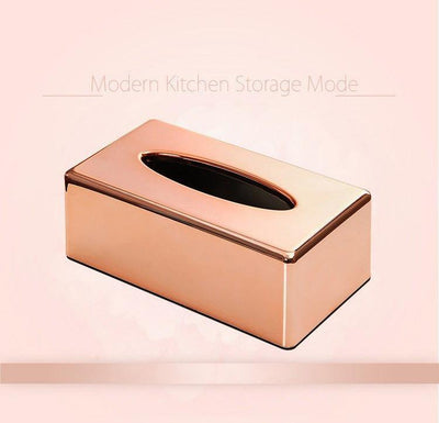 Modern Home Decor - Luxury Chrome Rose Gold Tissue And Napkin Dispenser