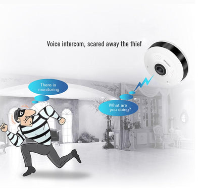 Panoramic HD WiFi Security Camera 360 Degree View - Home Surveillance On Your Cellphone - Voice Enabled