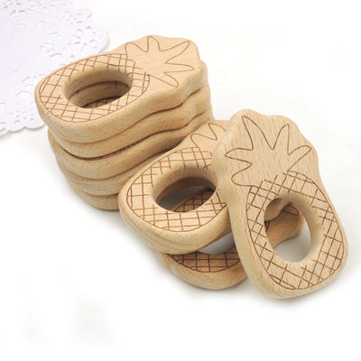 Pineapple Natural Wood Untreated Baby Teething Rings - Set Of 10 Rings