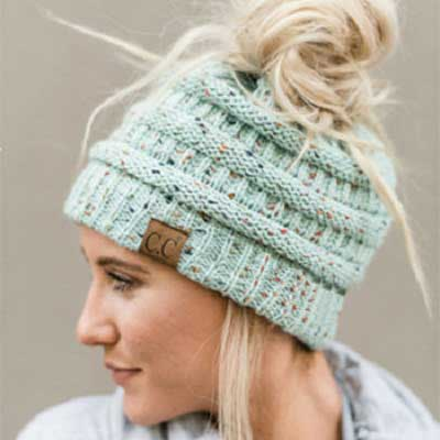 Original Messy Ponytail Knit Beanie Hat