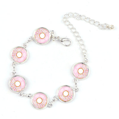 Interchangeable Glass Cabochon Donut Charm Bracelet