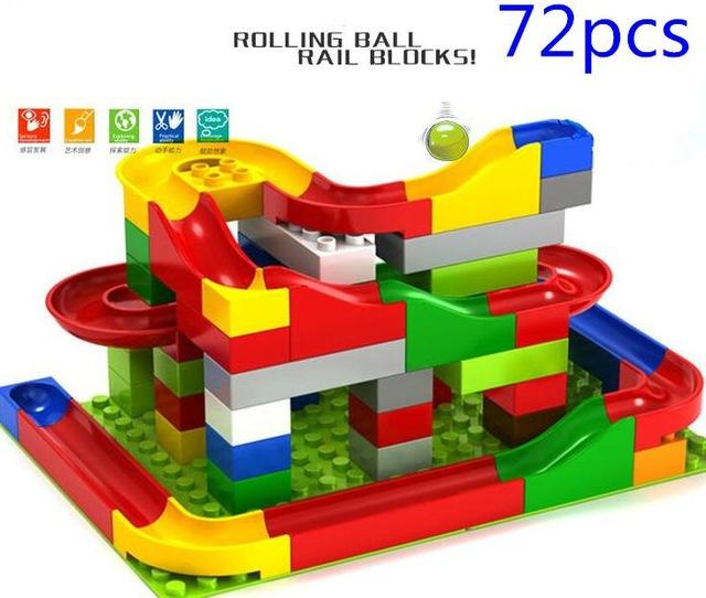 Rolling Ball Railroad Building Block Set For Growing Minds