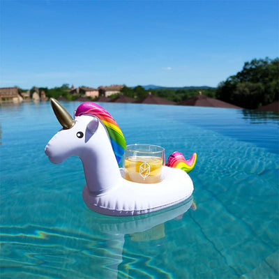 Summer Unicorn Inflatable Cup Holder For Drinks Or Phone - Set Of 2
