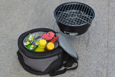 Two In One Lightweight Portable BBQ Grill & Cooler Combination With Carrying Case