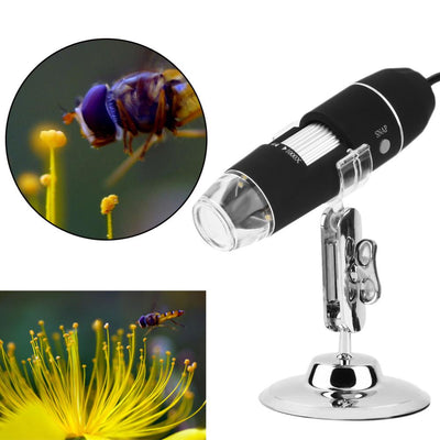 USB Powered Digital Microscope 1000x Magnification - 8 LEDs With Stand